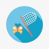 Butterfly net flat icon with long shadow. Vector illustration file stock illustration