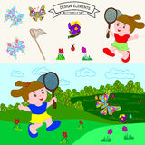 Butterfly net. Girl with butterfly net having fun at field, vector illustration Royalty Free Stock Images