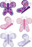 Butterfly Notes 2. A group of butterflies with decorative features Royalty Free Stock Image