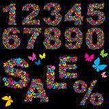 Butterfly numerals, word SALE and percent symbol. Elements for summer sale design Stock Image