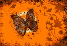 Butterfly orange background Royalty Free Stock Image