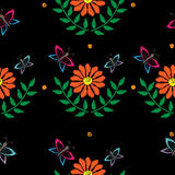 Butterfly and orange flower seamless pattern embroidery stitches Royalty Free Stock Photo