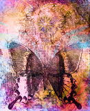 Butterfly and oriental ornamental mandala and Stock Images