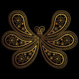 Butterfly. Oriental paisley pattern. Ornament in the form of a butterfly with gold threads and lines. Stylized Butterfly. Indian o Stock Photos