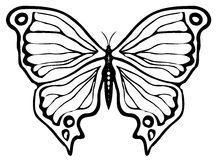 Butterfly ornament. A simple black-inked butterfly ornament Stock Photography