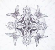 Butterfly and  ornamental mandala with flower. Original hand draw. Royalty Free Stock Image