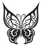 Butterfly with ornaments in Polynesian style. Pattern elements in a form of butterfly made in Royalty Free Stock Image