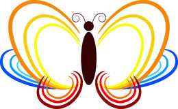 Butterfly out line. Illustration art of a butterfly out line with isolated background Royalty Free Stock Photo