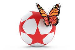 Butterfly over ball with stars Stock Image