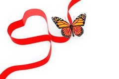 Butterfly over Red Ribbon in Shape of Heart. 3d Rendering Stock Photography
