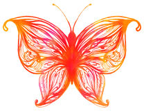 Butterfly painted with watercolors Stock Photo
