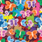Butterfly painting style drawing seamless pattern Stock Images
