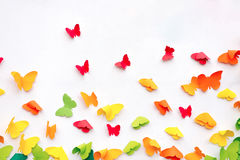 Butterfly Paper Cut on White Background. Spring Concept Stock Photo