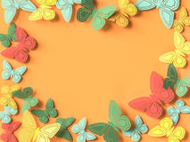 Butterfly paper cutout background. 3d rendering Royalty Free Stock Photos
