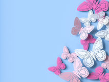 Butterfly paper cutout background. 3d rendering Stock Image