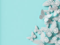 Butterfly paper cutout background. 3d rendering Royalty Free Stock Photography