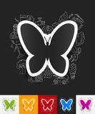 Butterfly paper sticker with hand drawn elements Stock Photos