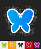 Butterfly paper sticker with hand drawn elements Stock Images