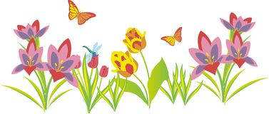Butterfly paradise. Consisting of many colors butterflies and flowers garden of eden stock illustration