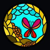 Butterfly and pattern on a black background.  Stock Photos