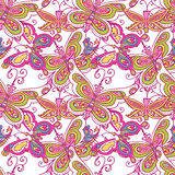 Butterfly pattern. Seamless tiling texture pattern background with bright colorful spring butterfly Royalty Free Stock Photo