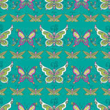 Butterfly pattern. Seamless tiling texture pattern background with bright colorful spring butterfly Stock Photos