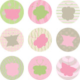 Butterfly patterns. Butterflies in circle shapes in pastel colors Royalty Free Stock Photos