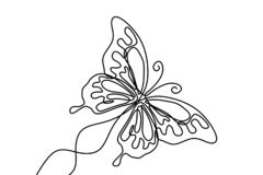 Butterfly with patterns on the wings continuous one line drawing element isolated on white background for logo or decorative vector illustration