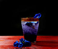 Butterfly pea drink. After adding acid Royalty Free Stock Images