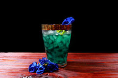 Butterfly pea drink. Same color without acid Royalty Free Stock Photos