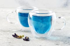 Butterfly pea flower blue tea. Healthy detox herbal drink. Royalty Free Stock Photography