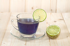 Butterfly pea flowers tea and lime Stock Photo