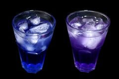 Butterfly Pea Juice. Blue pea teaFirst, put the lime blue. After the lime has become purple.The benefits of anthocyanin substance as an antioxidant stock photos