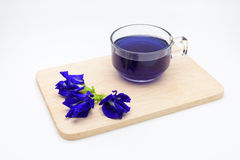 Butterfly pea juice with pile of pea flower on wooden plate on w. Hite background Royalty Free Stock Photos