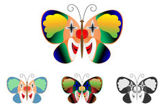 Butterfly with a picture of a clown on the wings Royalty Free Stock Images