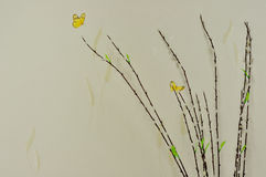 Butterfly picture and four background white tree Stock Images