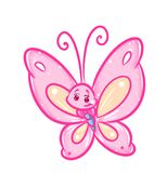 Butterfly pink cartoon illustration Royalty Free Stock Photography