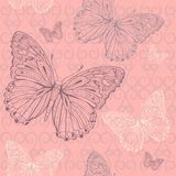The butterfly pink seamless Royalty Free Stock Photo