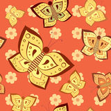 Butterfly pink seamless pattern Stock Photos