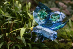 Butterfly Plastic sculpture Pet Art. Sculptures of a butterfly made of plastic bottles made by Veronika Richterova. Sculptures are instaled as a part of plants Stock Photos