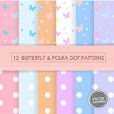 12 BUTTERFLY & POLKA DOTS PATTERNS. 12 BUTTERFLY & POLKA DOT PATTERNS,Vector Illustration, EPS 10 stock illustration
