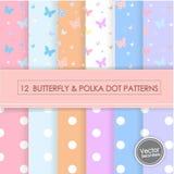 12 BUTTERFLY & POLKA DOTS PATTERNS. 12 BUTTERFLY & POLKA DOT PATTERNS,Vector Illustration, EPS 10 Stock Illustration