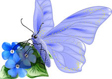 BUTTERFLY pollen. Flowers and butterfly isoolated on a white background vector illustration