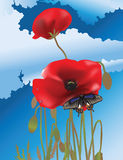 Butterfly and poppies. Illustrator 8 / EPS Royalty Free Stock Images