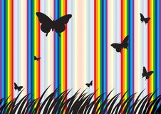 Butterfly and  Rainbow. Rainbow and butterfly beautiful background Royalty Free Stock Photography