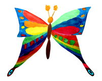 Butterfly. The rainbow butterfly children\'s artwork Stock Photo