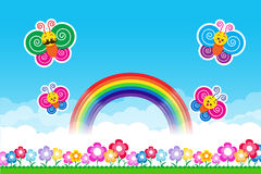 Butterfly Rainbow on Nature background with green grass and flo. Wers and blue sky, vector illustration royalty free illustration