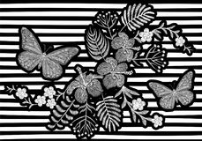 Butterfly realistic embroidery texture design. Exotic white flowers fashion decoration on striped monochrome background Royalty Free Stock Image