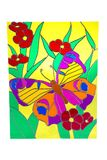 Butterfly and red flowers - stained glass Stock Photography
