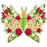 Butterfly with Red and Yellow Flowers. Vector Illustration Royalty Free Stock Photo